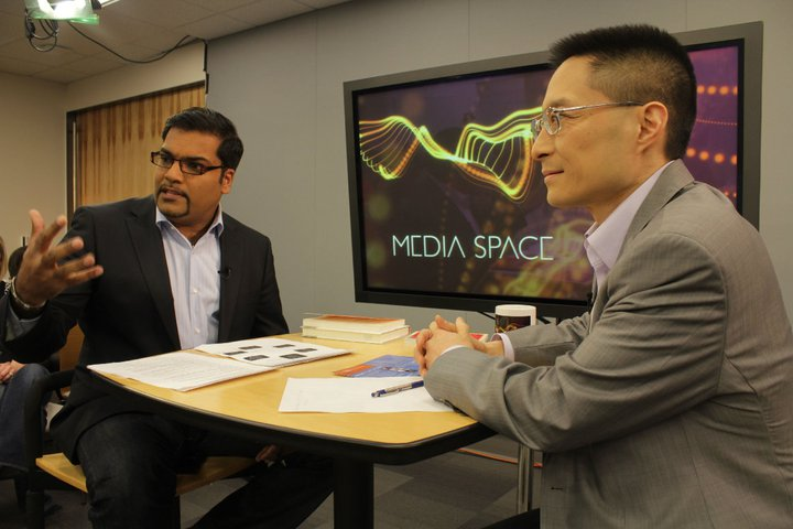 MCDM Director and Media Space TV host Hanson Hosein interviewing guest Eric Liu
