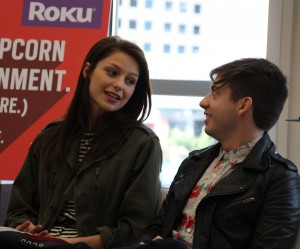 Melissa Benoist and Kevin McHale share a laugh during their Sunday interview at the Roku lounge at SXSW