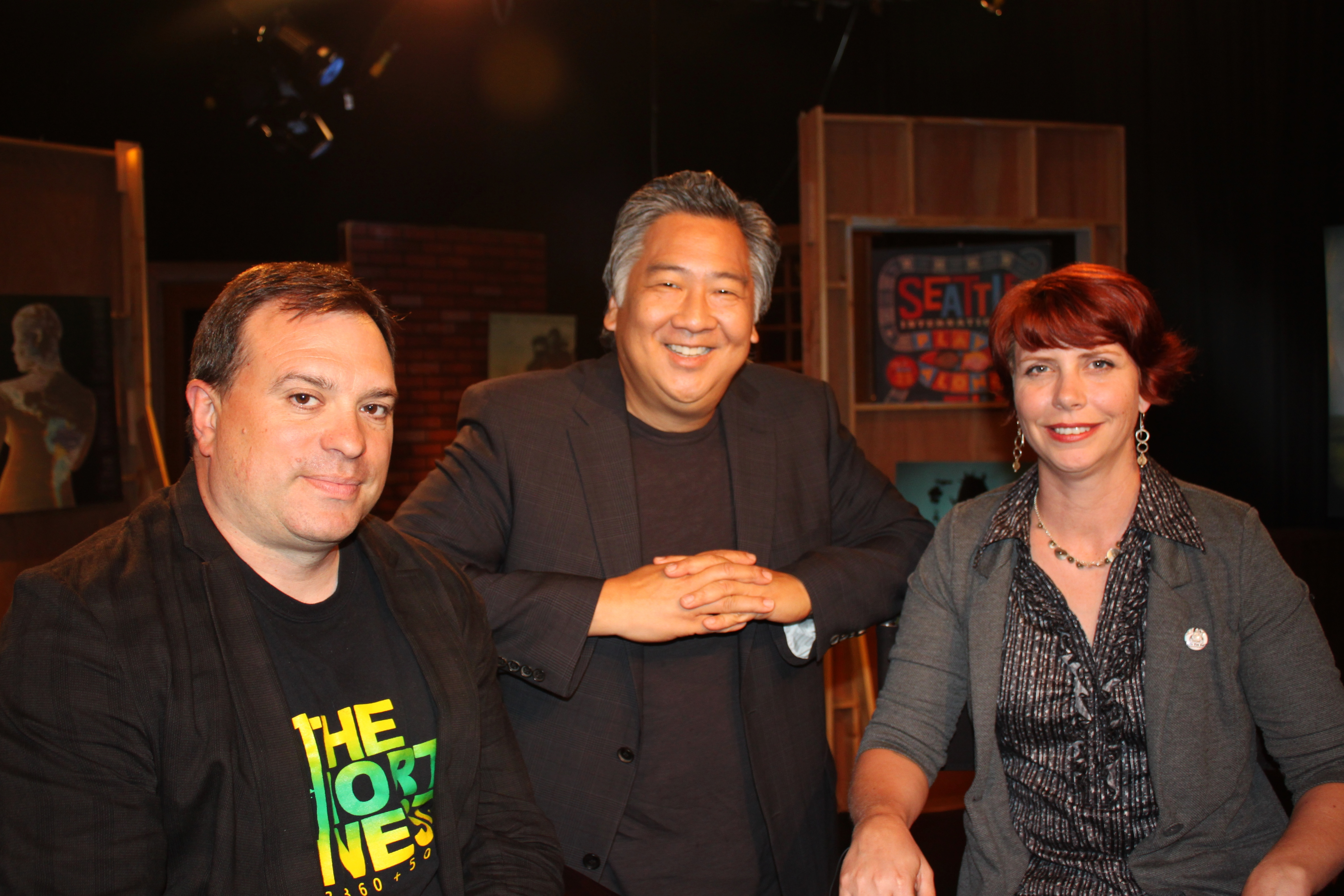 Scott (L) and Angelica (R) Macklin on set with host Andrew Tsao. Photo by Ashley-Rose O'Mara