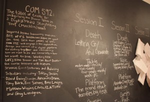 Blackboard notes from the course that led to the Death Over Dinner web  resource. Photo by Scott Macklin.