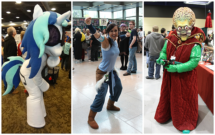 "Characters from ""My Little Pony,"" ""Legend of Korra"" and ""Mars Attacks!"" wander the packed halls of Washington State Convention Center during ECCC."