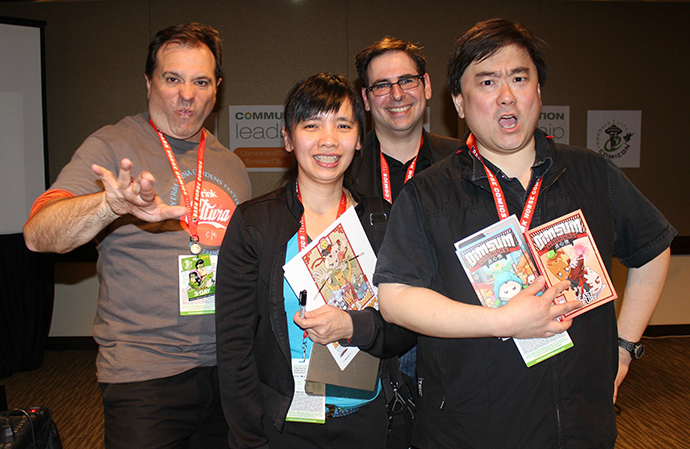 From left: Scott Macklin, Yen Yen Woo, Rob Salkowitz and Colin Goh goof around for a photo after the Dim Sum Warriors panel.