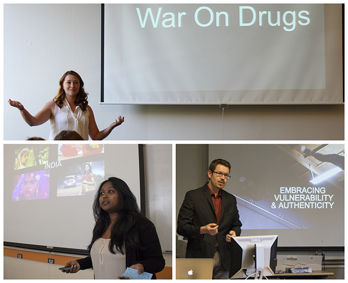 (Clockwise from top) Students Molly O'Donnell, Scott Wilson and Aparna Das were dubbed the winners after presenting their projects during multiple rounds.