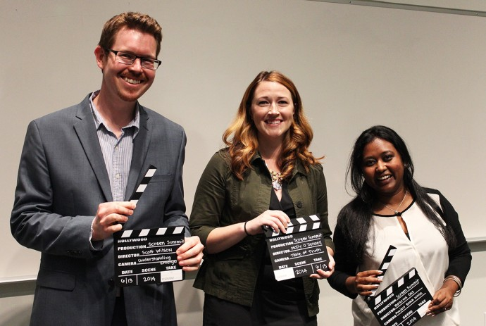 Screen Summit winners Scott Wilson, Molly O'Donnell and Aparna Das pose together after their presentations.