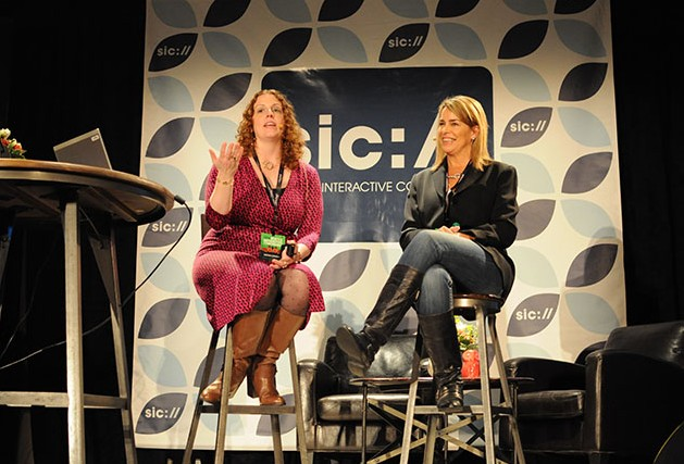 Cortney Henseler and Lisa Archambault talk mobile shopping at SIC 2014
