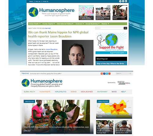 Humanosphere.org's site, before and after a Comm Lead student make-over (Image: Kathy Matosich)
