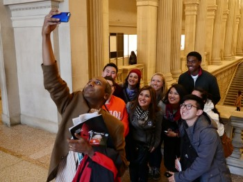Sree Sreenivasan takes a selfie at the Metropolitan Museum with this year's Career Exploration students when visiting NYC in November.