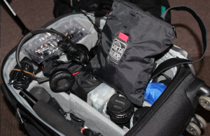 Scott Macklin showed how his rolling carry-on-sized suitcase contains the equipment he needs for creating video, photos, and sound for immersive storytelling productions.