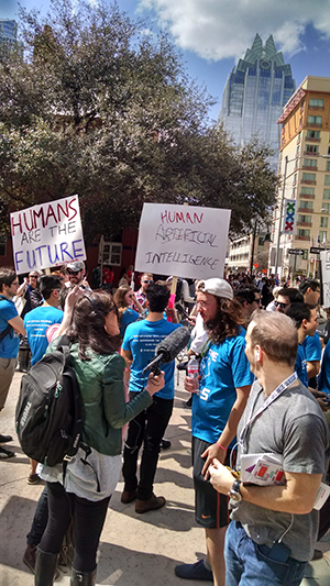 Demonstrators at SXSW
