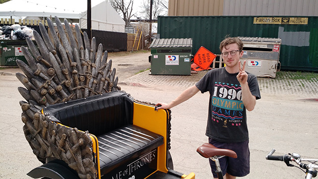 Pity the iron throne pedicab driver: Image by Fritz Kessler