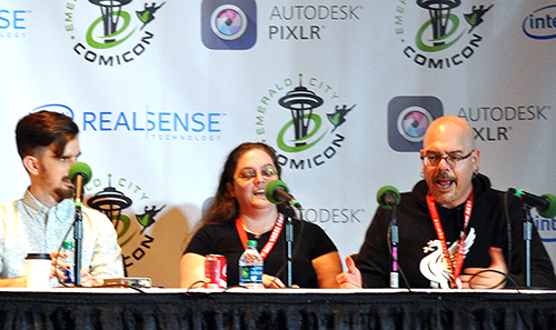 Evan Dahm, Carla Speed McNeil and Greg Rucka at ECCC 2015