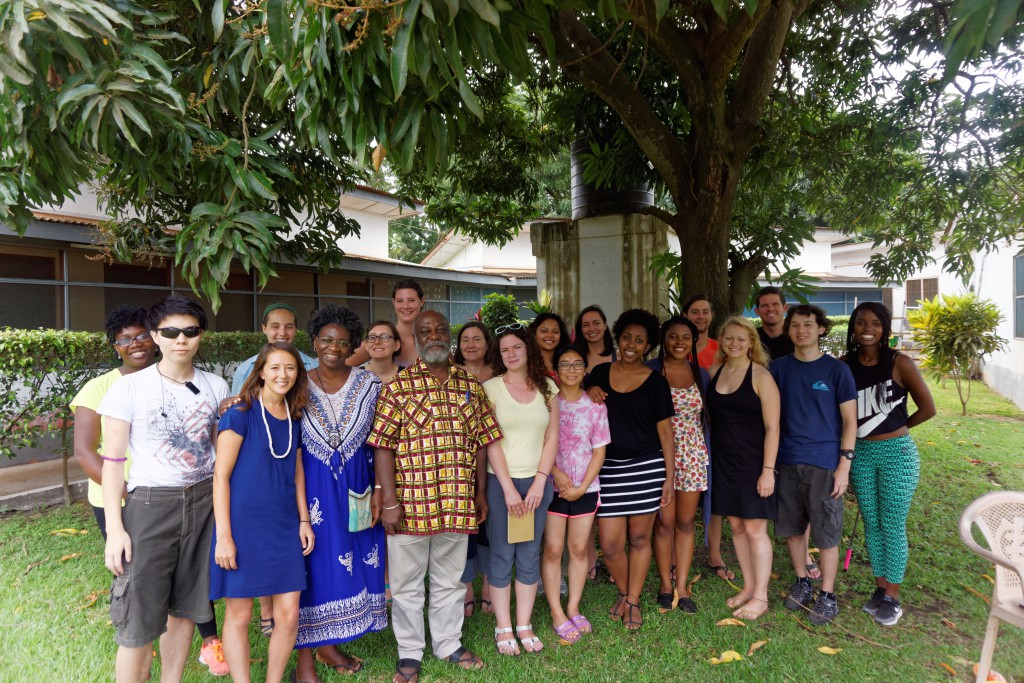 The UW 2015 Ghana Exploration Seminar group with University of Ghana professor Kwame Karikari. Karikari teaches mass communication and media theory.